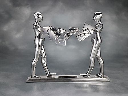 Ernest Trova ,   Double Walking Figure  ,  1986     stainless steel ,  13 x 15 1/2 x 3 in. Ed. 6/8     TROV0132
