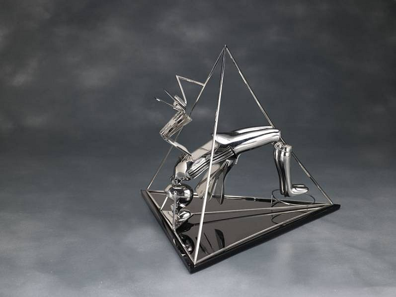 Ernest Trova ,   Pyramid  Figure  ,  1986     stainless steel ,  18 x 20 x 21 in. (45.7 x 50.8 x 53.3 cm)     Ed. of 8     TROV0095
