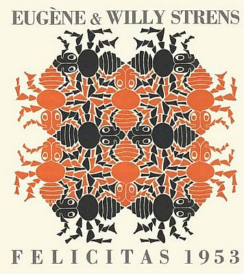 MC Escher ,   Earth II (New Year's Greeting Card 1953) (B. 382)  ,  1952     woodcut in blue-grey and orange, printed from two blocks, with letterpress typography in grey ,  6 1/8 x 5 3/8 in. (15.6 x 13.7 cm)     Escher was commission to design these greeting cards by the Strens and Asselberg families.
