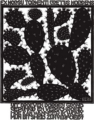 MC Escher ,   Emblemata Suite: Cactus (B. 181) Edition 257/300  ,  1931     Woodcut ,  7 1/8 x 5 1/2 in. (18.1 x 14 cm)     ESCH0104