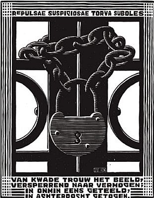 MC Escher ,   Emblemata Suite: Padlock (B. 185) Edition 257/300  ,  1931     Woodcut ,  7 1/8 x 5 1/2 in. (18.1 x 14 cm)     ESCH0120