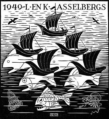 MC Escher ,   New Years's Greeting card 1949 - L. and K. Asselbergs (B. 360)  ,  1948     Woodcut ,  6 x 5 1/2 in. (15.2 x 14 cm)     ESCH0126