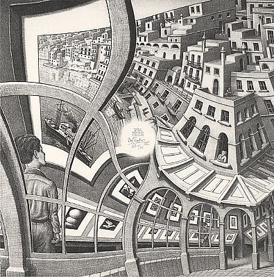MC Escher ,   Print Gallery (B. 410) Signed, Edition 3/47  ,  1956     Lithograph ,  12 1/2 x 12 1/2 in. (31.8 x 31.8 cm)     ESCH0084