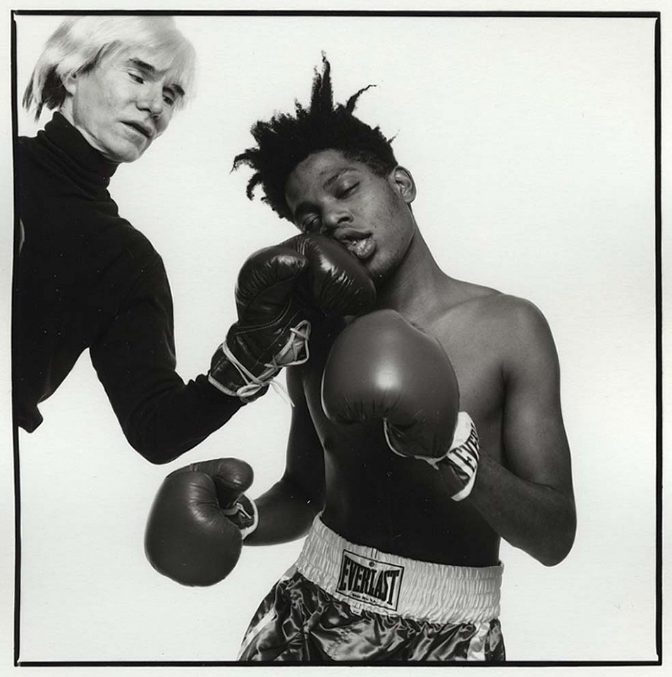 Michael Halsband ,   Andy Warhol and Jean-Michel Basquiat 133  ,  1985     Silver Gelatin Print ,  30 x 30 in.     Ed. of 5