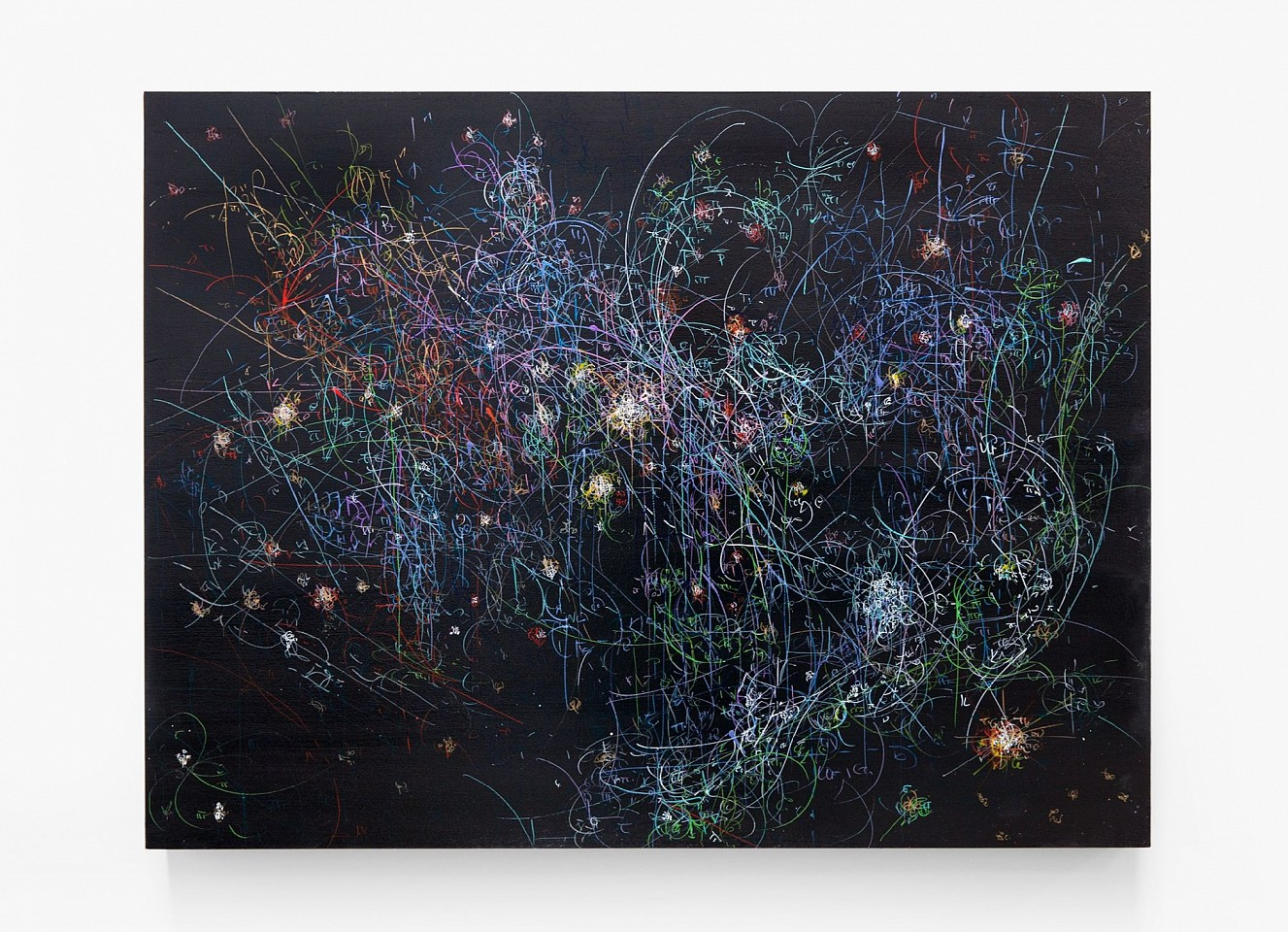 Kysa Johnson ,   Blow Up 284 - the long goodbye - subatomic decay patterns with the Orion Nebula  ,  2015     ink and high gloss on board ,  24 x 30 in. (61 x 76.2 cm)     JOHK00001