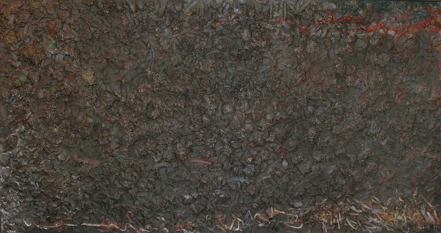 Stanley Boxer (Estate) ,   Gossamarsplinteredstygian  ,  1983     Mixed media on canvas ,  52 x 100 in. (132.1 x 254 cm)     BOXE0155