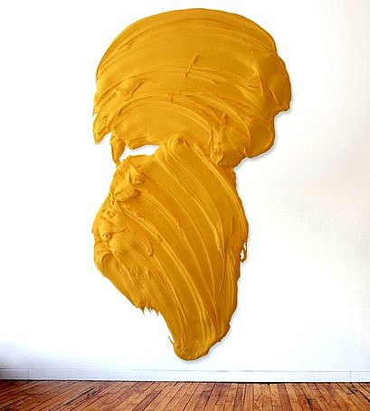 Donald Martiny ,   Rurreabaque  ,  2013     polymer and pigment on aluminum ,  72 x 45 in. (182.9 x 114.3 cm)     mustard yellow monochrome     MART0007