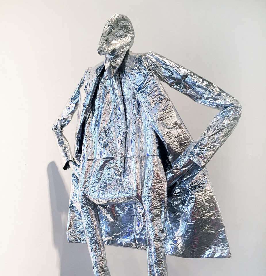 William King ,   Take It Or Leave It  ,  1986     Mixed media ,  84 x 37 x 18 in. (213.4 x 94 x 45.7 cm)     Silver mylar     KING0033