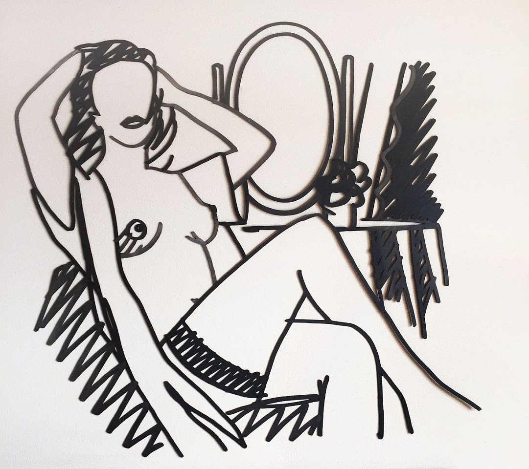 Tom Wesselmann ,   Nude and Mirror (Variation #1)  ,  1988     Enamel on Laser Cut Steel ,  54 x 59 in. (137.2 x 149.9 cm)     unique     WESS00020