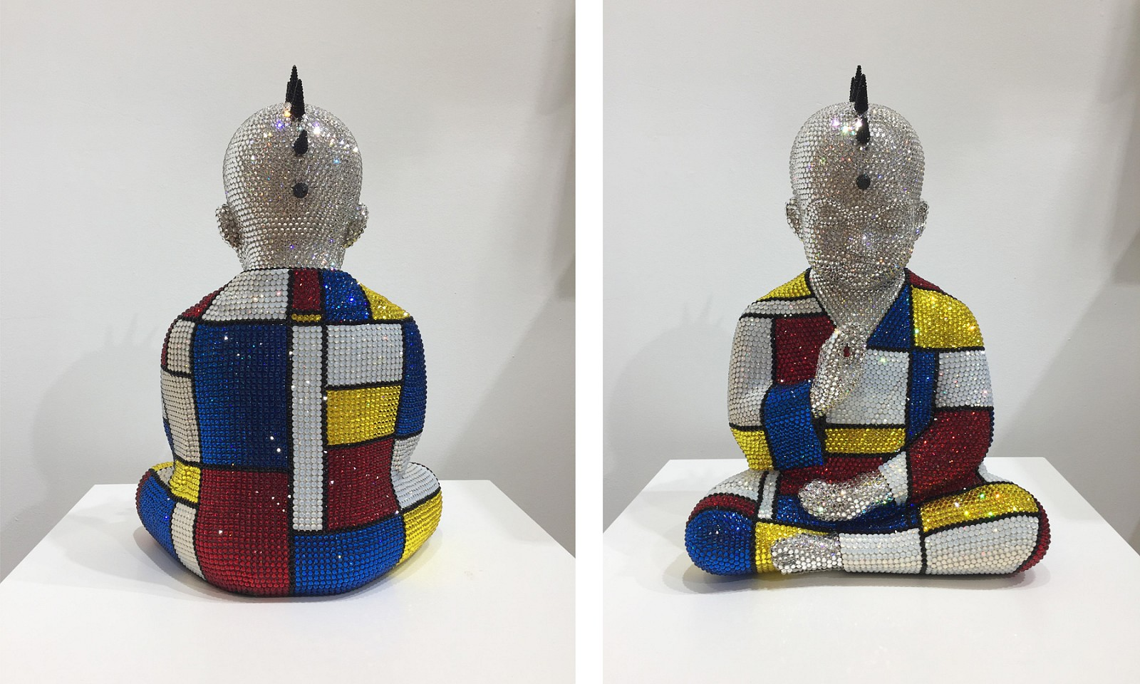 Metis Atash ,   Z THE SPACE WITHIN feat Mondrian  ,  2017     Resin, acrylic paint and 28,000 Swarovski crystals ,  17 1/2 x 12 x 9 in. (45.7 cm)     ATAS0024