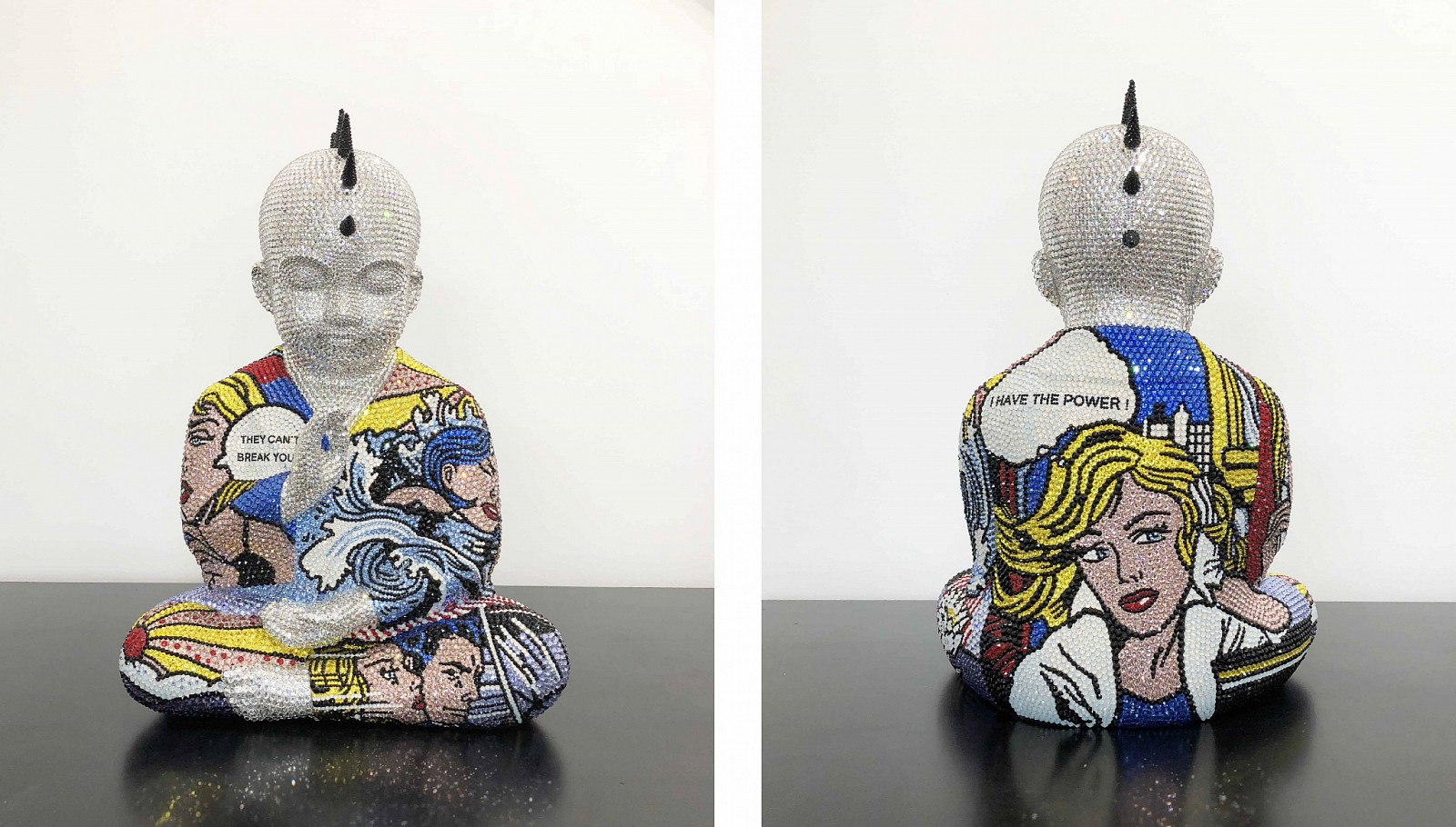 Metis Atash ,   Z I HAVE THE POWER Feat. Lichtenstein  ,  2018     Resin, acrylic paint and 28,000 Swarovski crystals ,  17 1/2 x 12 x 9 in. (45.7 x 30.5 x 19.1 cm)     ATAS00083