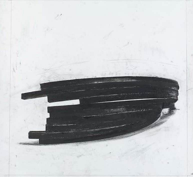 Bernar Venet ,   Effondrement: Arcs II  ,  2013     polymer gravure, photo etching with wiping ,  38 5/8 x 40 1/8 in paper, 43 x 42 in. frame,  Ed. 30/50     Published by Thumbprint Editions, London     VENE0009