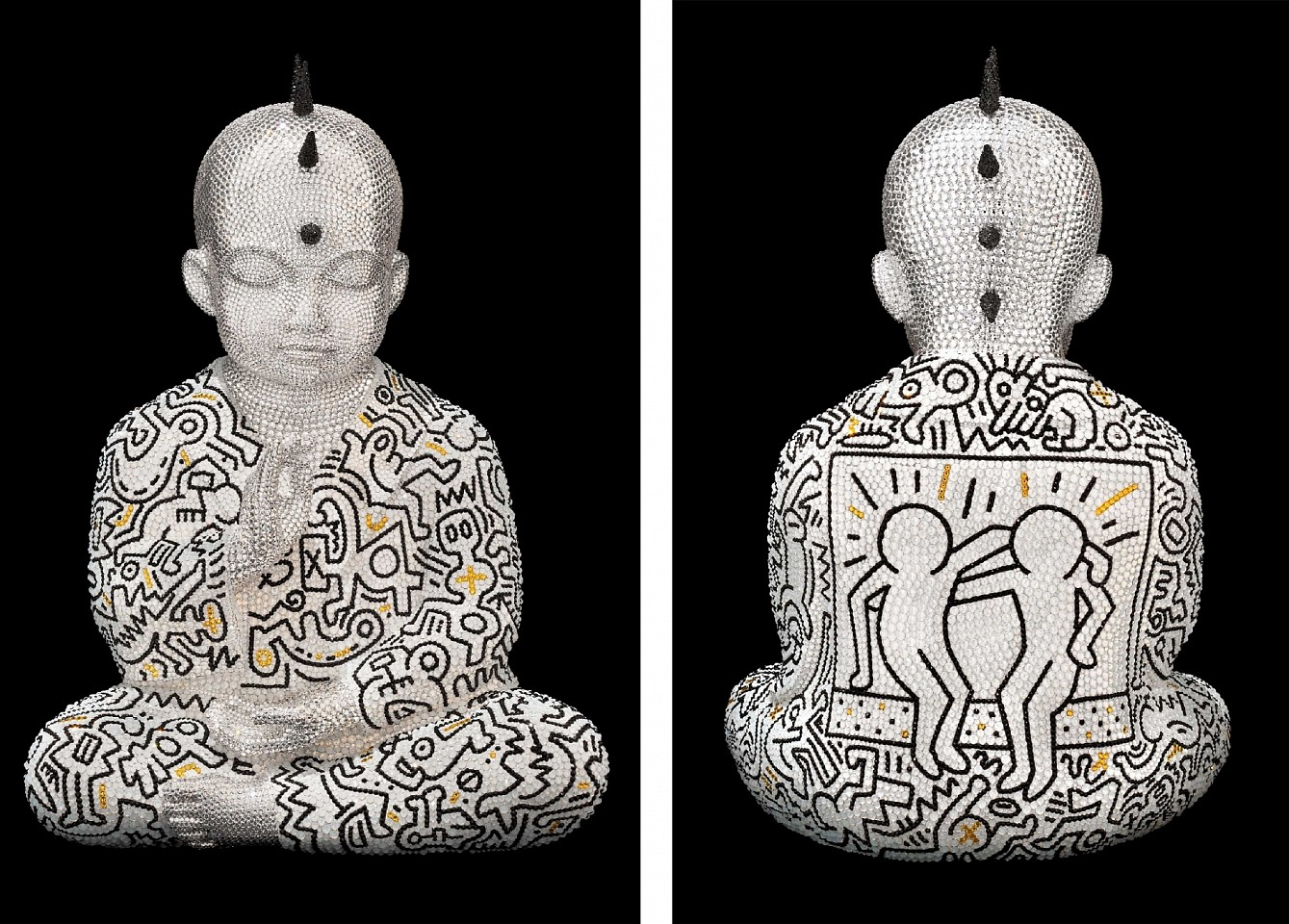 Metis Atash ,   Z PUNKBUDDHA BEGINNERS HEART feat. HARING  ,  2018     Resin, acrylic paint and 28,000 Swarovski crystals ,  17 1/2 x 12 x 9 in. (44.5 x 30.5 x 22.9 cm)     ATAS00086