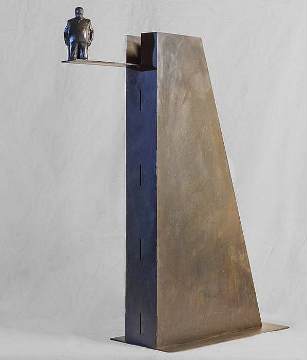 Jim Rennert ,   Cannonball  ,  2010     Bronze and steel ,  32 x 28 x 8 in. Ed. of 7     RENN00004