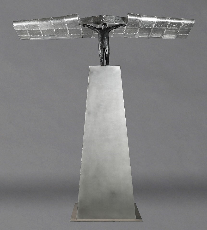 Jim Rennert ,   Launch  ,  2018     Bronze, stainless steel and aluminum ,  112 x 112 x 36 in. Ed. of 9     RENN00013
